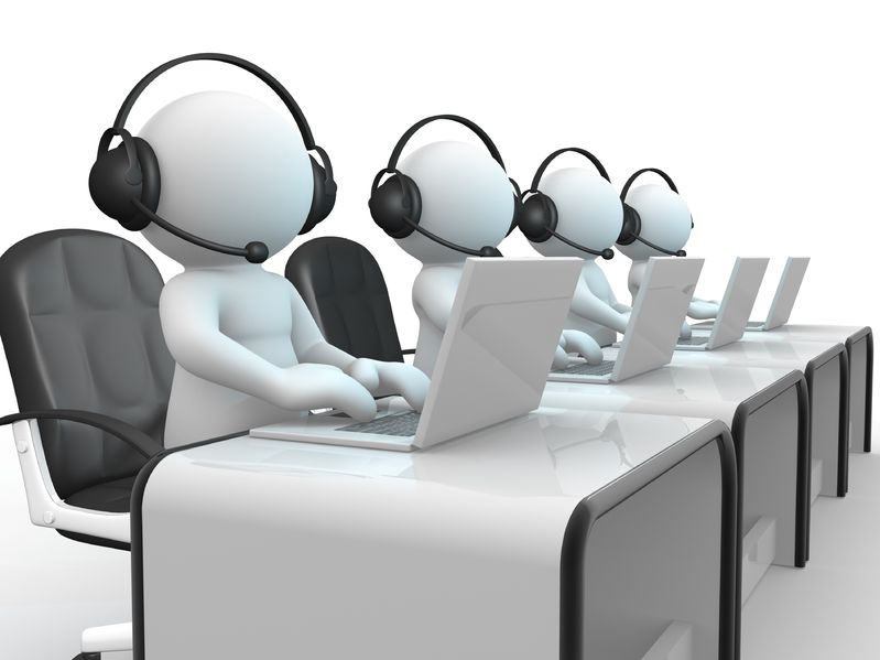 14802370 - 3d people - human character , person with headphone and a laptop call center 3d render illustration